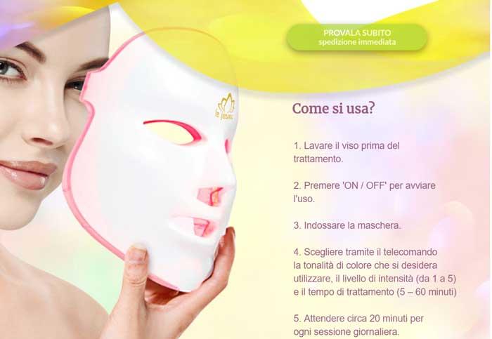 Maschera a led per acne e rughe
