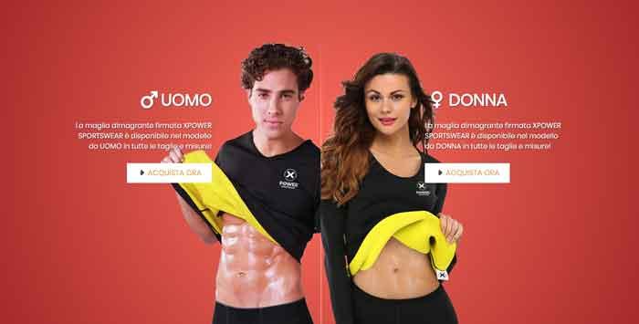 T-shirt dimagrante per uomo e donna Xpower
