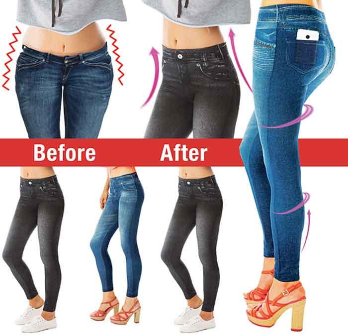 Prima e dopo l uso dei pantaloni modellanti