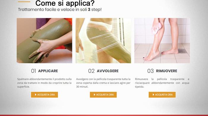 Applicazione della crema anticellulite X Mud