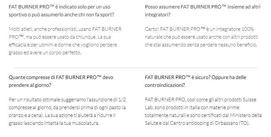 Modalità di assunzione di Fat Burner Pro